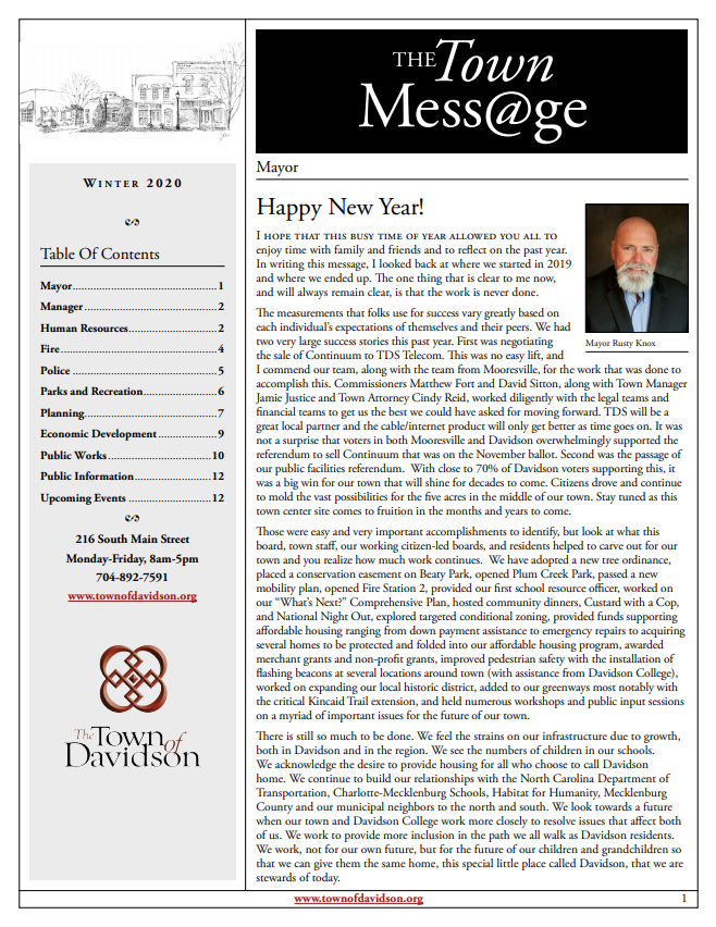 Town Message Page 1 Winter 2020